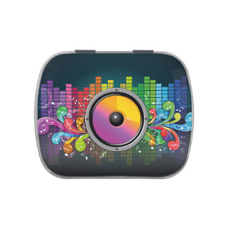 Music speaker colorful artistic illustration jelly belly candy tin