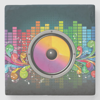 Music speaker colorful artistic illustration stone coaster