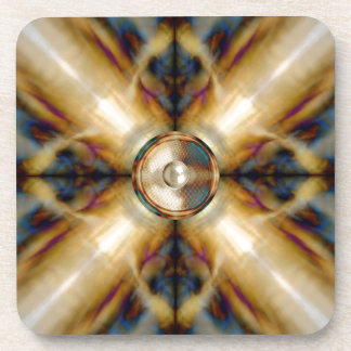 Music speaker on a gold cross background drink coaster