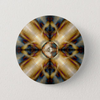 Music speaker on a gold cross background pinback button