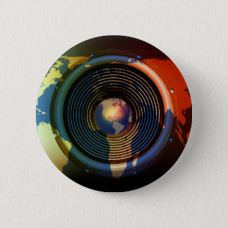 Music speaker on a world map button