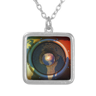 Music speaker on a world map silver plated necklace