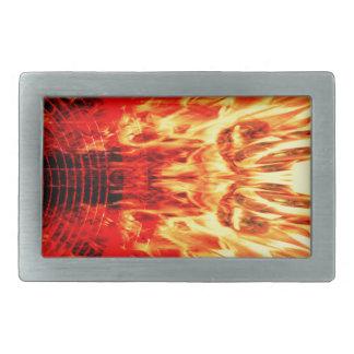 Music speaker with flames rectangular belt buckle