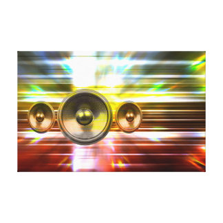 Music speakers and party lights canvas print