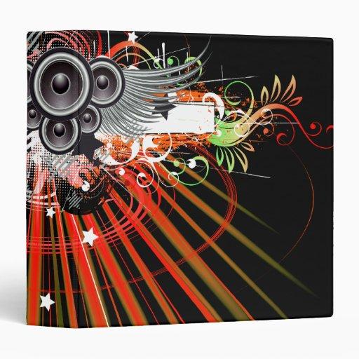 Music Speakers In Flight With Laser Beams 3 Ring Binder