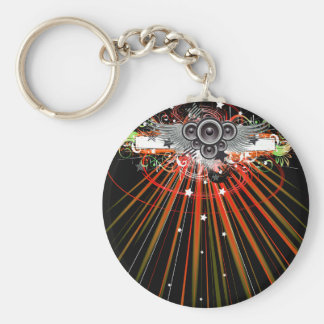 Music Speakers In Flight With Laser Beams Basic Round Button Keychain