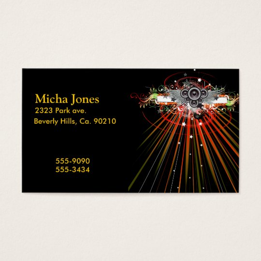 Music Speakers In Flight With Laser Beams Business Card