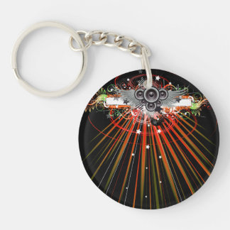 Music Speakers In Flight With Laser Beams Double-Sided Round Acrylic Keychain