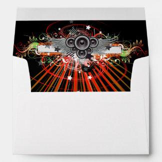 Music Speakers In Flight With Laser Beams Envelope
