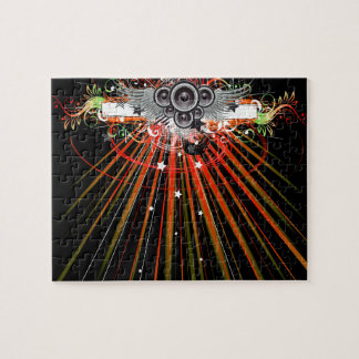 Music Speakers In Flight With Laser Beams Jigsaw Puzzle