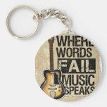 music speaks basic round button keychain