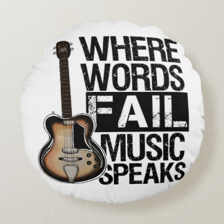 Music Speaks | Choose your background color Round Pillow