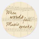 Music Speaks Classic Round Sticker at Zazzle