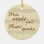 Music Speaks Double-Sided Ceramic Round Christmas Ornament
