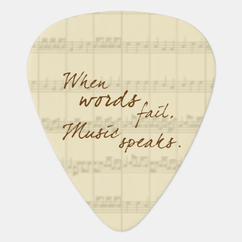 Music Speaks Guitar Pick