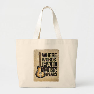 music speaks large tote bag