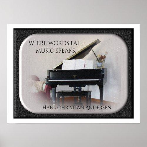 Music Speaks -QuotePrint - Hans Christian Andersen Poster