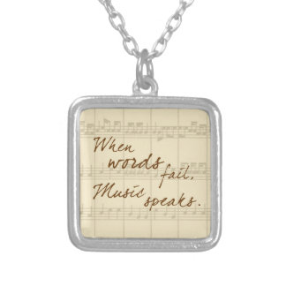 Music Speaks Silver Plated Necklace