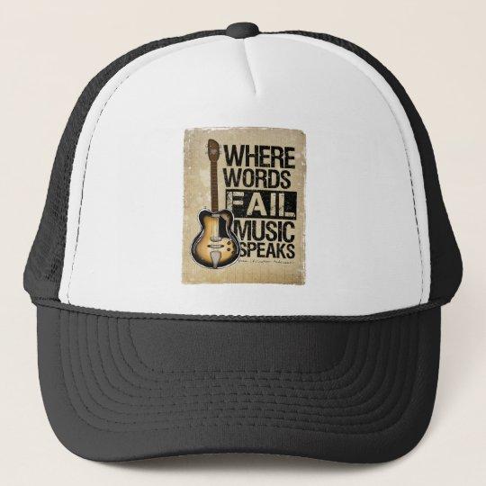 music speaks trucker hat
