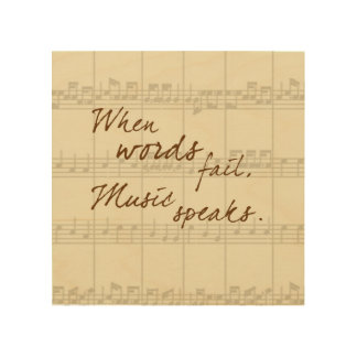 Music Speaks Wood Print