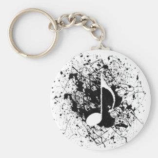 Music Splatter Basic Round Button Keychain