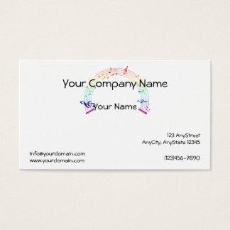 Music Staff Semi-Circle Rainbow on White Business Card