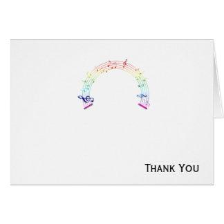 Music Staff Semi-Circle Rainbow on White Greeting Cards