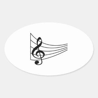 MUSIC STAFF OVAL STICKERS