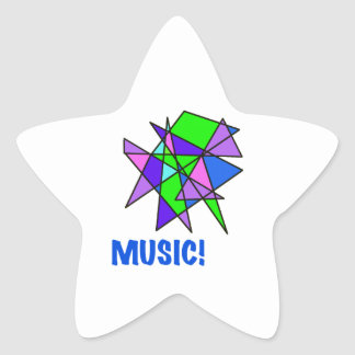 MUSIC, stained glass, abstract, gifts Star Sticker