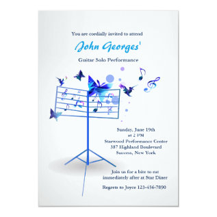 Music Stand Blue Invitation at Zazzle