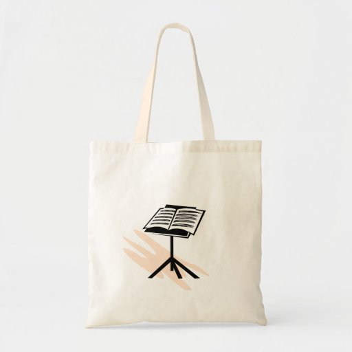 Music stand graphic design image budget tote bag