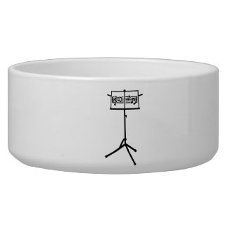 Music stand notes pet food bowls