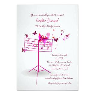Music Stand Pink Invitation at Zazzle