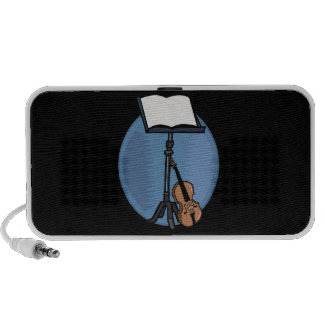Music Stand With Violin and Blue Circle Travel Speaker