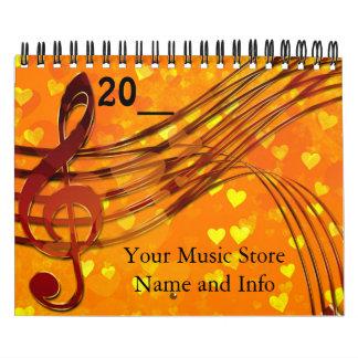 Music Store Company Calendar