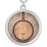 Music - String - Banjo Round Pendant Necklace