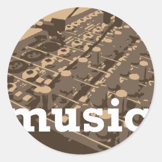 Music Studio Mixer Classic Round Sticker