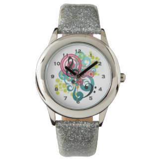 Music Swirl Glitter Watch