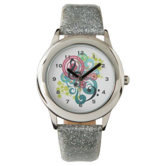 Music Swirl Glitter Watch