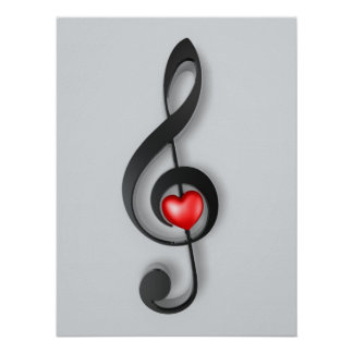 music symbol and lovely heart poster