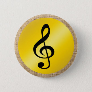 Music Symbol Clef Notes in Burlap Gold Black Button