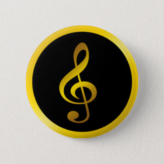 Music Symbol Clef Notes in Gold Black Button