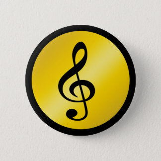 Music Symbol Clef Notes in Gold Black Pinback Button