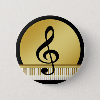 Music Symbol Clef Notes in Piano Gold Black Pinback Button