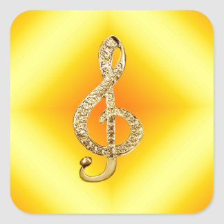Music Symbol G-clef Square Sticker
