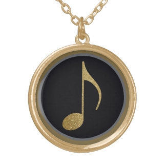 music symbol gold plated necklace