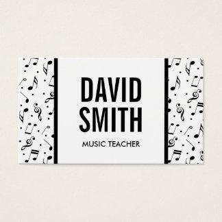 Music Symbol Pattern Bold Name Musical Business Card
