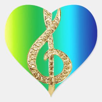 Music Symbol Staff G-Clef Heart Sticker