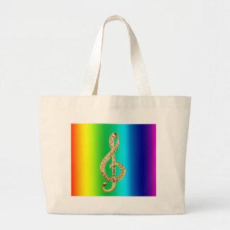 Music Symbol Staff G-Clef Large Tote Bag