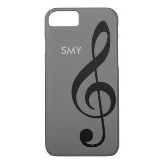 music symbol (treble clef) with custom initials iPhone 7 case